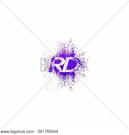 Initial  Letter R And D, Rd Logo Icon Abstract  Ink Spaltter. Purple  Splash  With Hidden Letter Log
