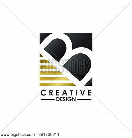 Negative Space Letter B Logo.  Creative Design Concept Square Shape, Stripe  Line With Hidden Letter