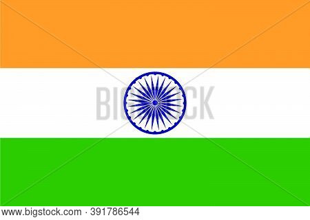India Flag, Official Colors And Proportion Correctly. National India Flag. Vector Illustration.