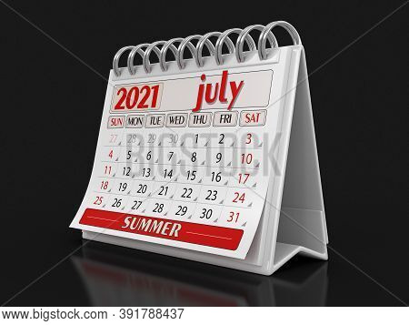 3d Illustration. Calendar -  July 2021  (clipping Path Included)