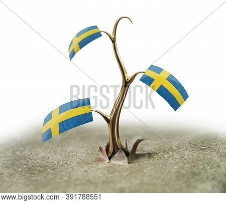 3d Illustration. 3d Sprout With Sweden Flag On White