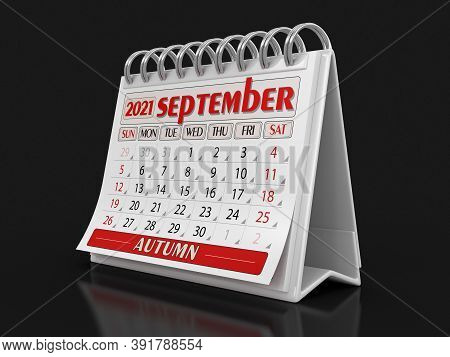 3d Illustration. Calendar -  September 2021 (clipping Path Included)