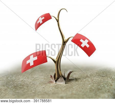 3d Illustration. 3d Sprout With Swiss Flag On White