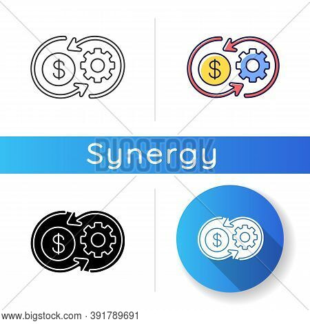Cost Synergy Icon. Business Financial Operation. Enterprise Profit. Work Value. Plan Marketing Strat