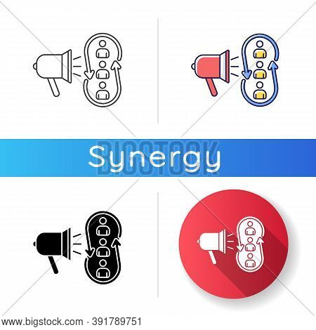 Marketing Synergy Icon. Broadcast Information To Audience. Advertising To Community. Promotion Strat