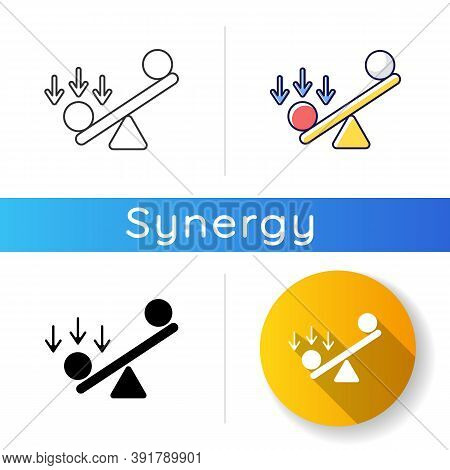 Synergy Bias Icon. Unbalanced Scale With Spheres. Advantage And Disadvantage On Scale. Competitive S