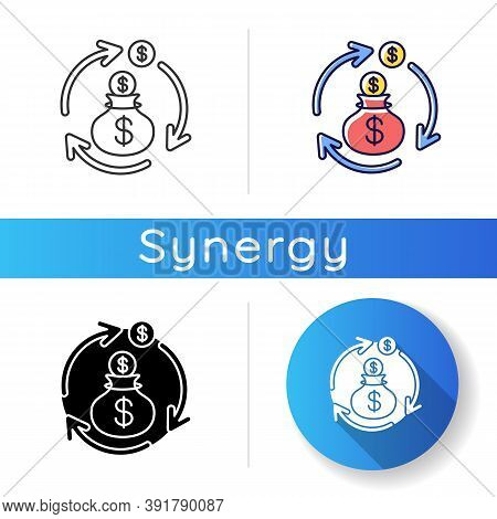 Revenue Synergy Icon. Accounting Process. Money Exchange. Flow Of Income. Business Investment. Profi