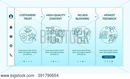 Influencer Marketing Advantages Onboarding Vector Template. High-quality Content. Honest Feedback. R