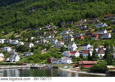 The Small Village On Sognefjord In Norway