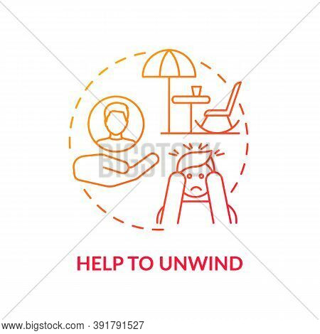 Help To Unwind Concept Icon. Me Time Benefits. Refresh Your Brain Tips For Everyday. Free Your Mind