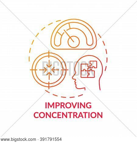 Improving Concentration Concept Icon. Me Time Benefits. Train Your Brain Memory. Focusing On Learnin