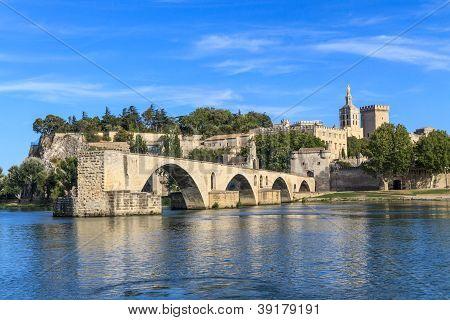 Avignon Bridge With Popes Palace, Pont Saint-b�nezet, Provence, France