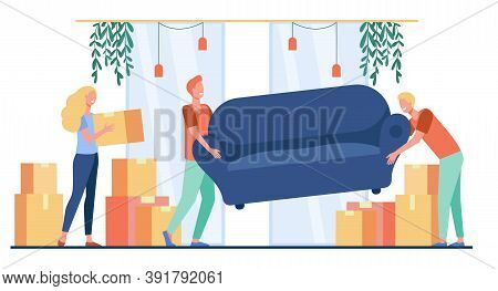 Happy People Moving Into New Home. Cartoon Characters Carrying Carton Boxes And Sofa Indoors. Vector
