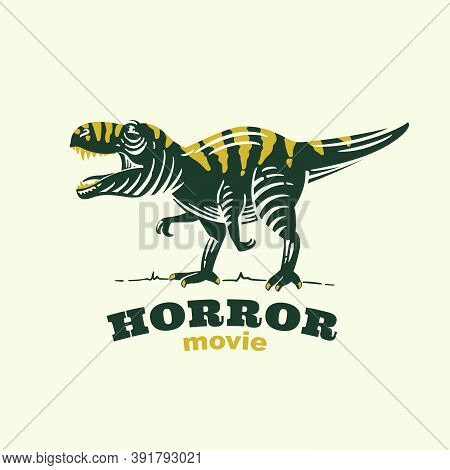 T-rex With Tiger Skin Retro Engraved Emblem. Classic Mascot For Horror Movie Production Label, Sport
