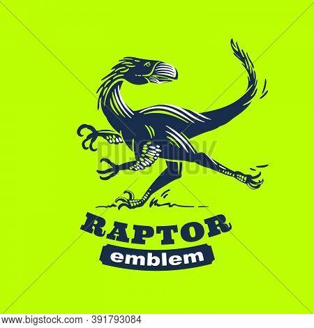 Raptor Monster Retro Engraved Label. Classic Emblem For Paleontology Concept, Jurassic Logo, Dinosau