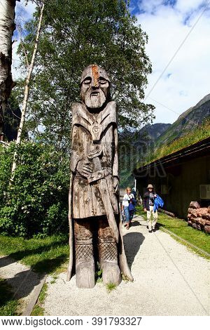 Sognefjord, Norway - 25 Jun 2012: The Statue In The Small Village On Sognefjord, Norway