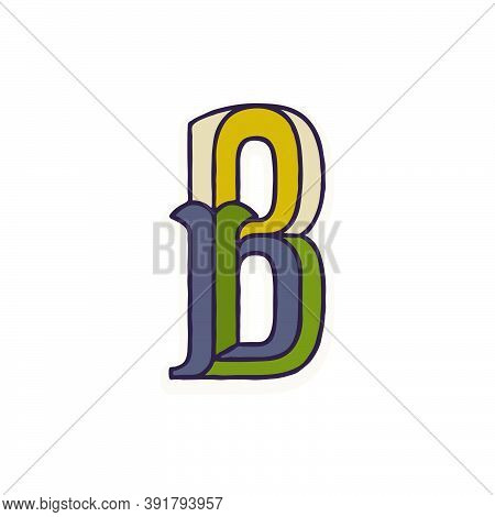 B Letter Logo Faceted With Dim Colors. You Can Use It In Your Corporate Identity, Retro Emblem, Hera