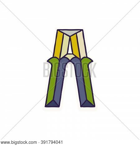 Letter A Logo Faceted With Dim Colors. You Can Use It In Your Corporate Identity, Retro Emblem, Hera