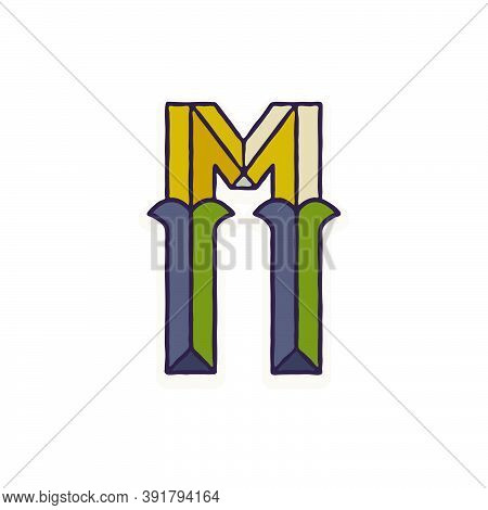 M Letter Logo Faceted With Dim Colors. You Can Use It In Your Corporate Identity, Retro Emblem, Hera