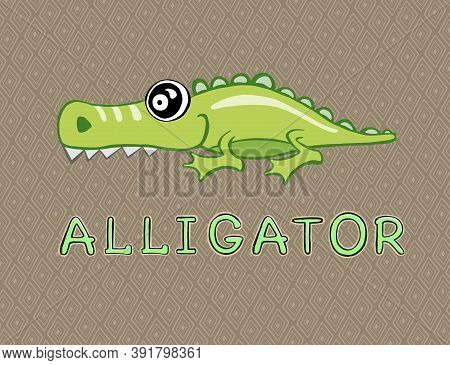 Alligator Or Crocodile Over The Sign. Small Icon For Stock.