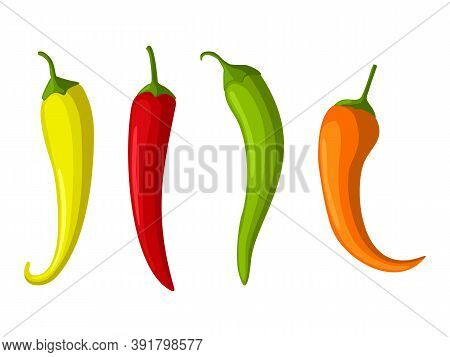 Hot Red, Yellow And Green Chilly Peppers Set Isolated On White Background, Cartoon Mexican Chilli, P