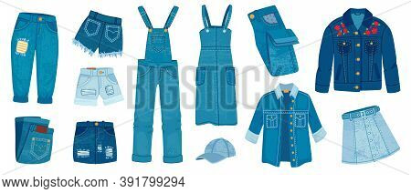 Jeans Clothes. Ripped Denim Casual Fashion. Cartoon Trendy Jean Jacket, Pants And Shorts, Skirts And