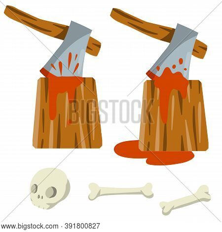 Place Of Execution. Axe And Tree Stump With Blood. Skull And Bones Of Dead Man. Medieval Punishment.