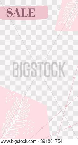 Pink Floral Story. Cute Abstract Sale Social Media Story Template. Empty Promo Card, Story Media Soc