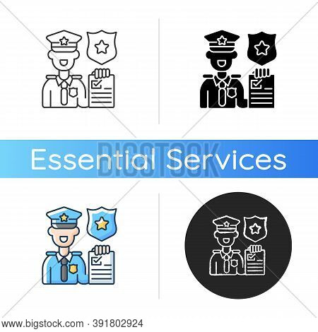 Law Enforcement Icon. Police Officer. Cop. Sheriff. Maintaining Public Order And Safety. Lives And P