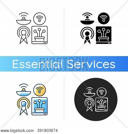 Communications Infrastructure Icon. Broadcasting. Information Technology. Telecommunication. Interne