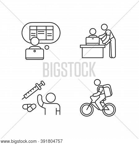 Part-time Jobs Linear Icons Set. Data Entry Clerk. Personal Assistant. Clinical Trial Volunteer. Cus
