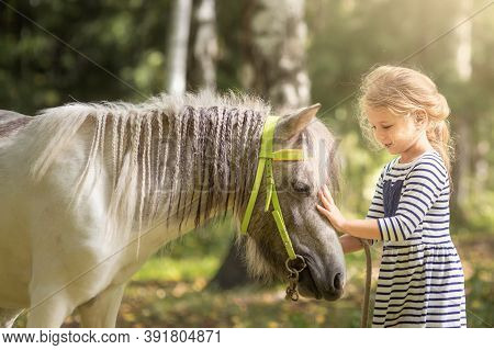 Little Blond Girl Icaressing The Little Horse Pony And Hugging It In Summer Forest