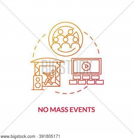 No Mass Events Concept Icon. New Public Rule Idea Thin Line Illustration. Mass Gatherings. Social Di