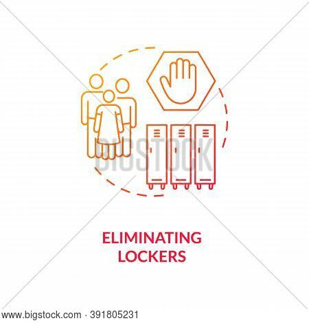 Eliminating Lockers Concept Icon. Covid School Safety Rule Idea Thin Line Illustration. Reducing Ris