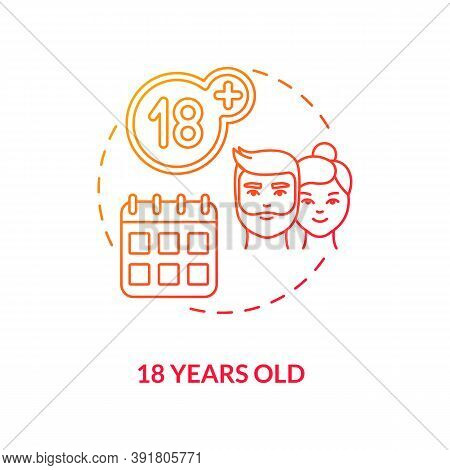 18 Years Old Concept Icon. Online Voting Requirement Idea Thin Line Illustration. Voter Registration