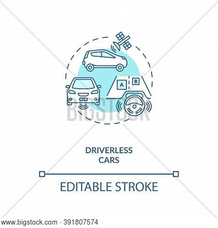 Driverless Cars Concept Icon. Futuristic Road Safety Devices. Computer Controlled Auto. Ai Applicati