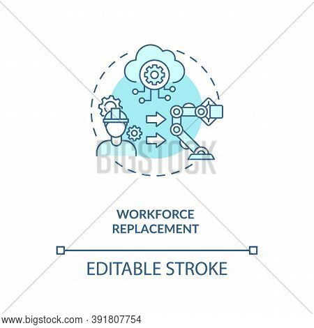 Workforce Replacement Concept Icon. No Working Places For People. Money Increasing Technologies. Ai
