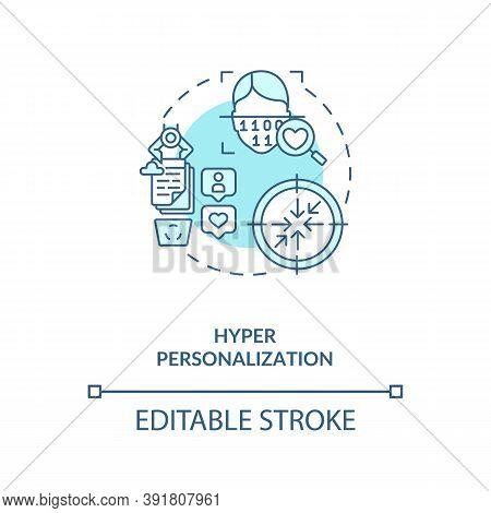 Hyper Personalization Concept Icon. Interesting Futuristic Devices. Ways Of Identification. Ai In Ed