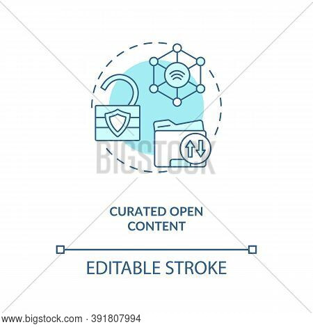 Curated Open Content Concept Icon. Open Source Information. Easy To Get Data. Ai In Education Idea T