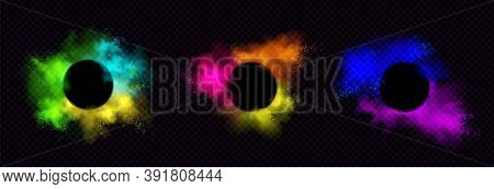 Powder Holi Paints Round Frames Colorful Clouds Or Explosions, Ink Splashes, Decorative Vibrant Dye
