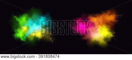 Explosions Of Color Powder, Paint Dust With Particles. Vector Realistic Set Of Colorful Ink Splashes