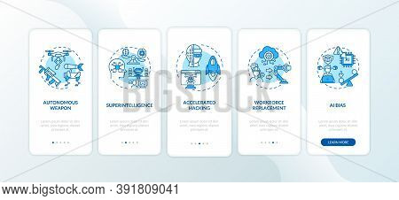 Ai Threats Onboarding Mobile App Page Screen With Concepts. Computer With Superintelligence Walkthro