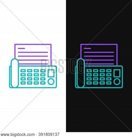 Line Fax Machine Icon Isolated On White And Black Background. Office Telephone. Colorful Outline Con