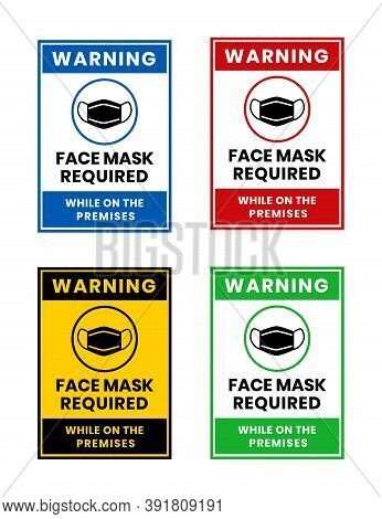 Masks Required Sign. Vertical Warning Signage. Masks Required  While On The Premises. For Restaurant