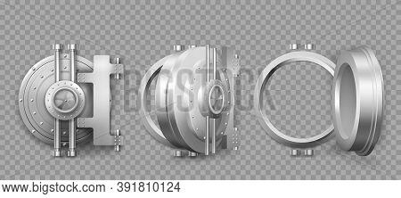 Bank Safe Vault Door Opening Motion Sequence Animation. Metal Steel Round Gate Close, Slightly Ajar