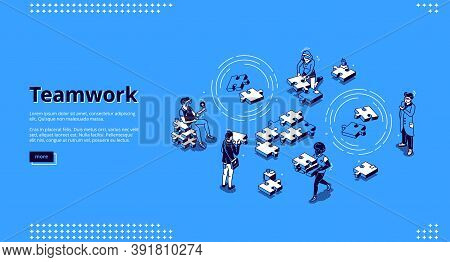 Teamwork Isometric Landing Page. Business People Team Assembling Separated Puzzle Pieces. Cooperatio