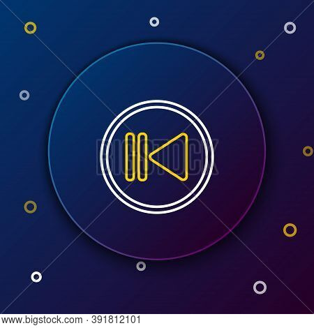 Line Rewind Icon Isolated On Blue Background. Colorful Outline Concept. Vector