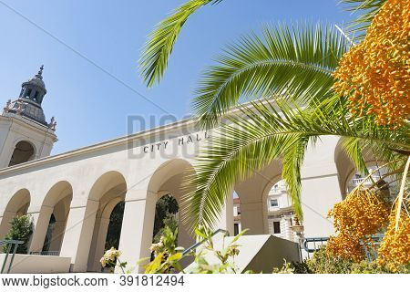Pasadena City Hall Façade With Tropical Palm In Mediterranean Revival And Spanish Colonial Revival S