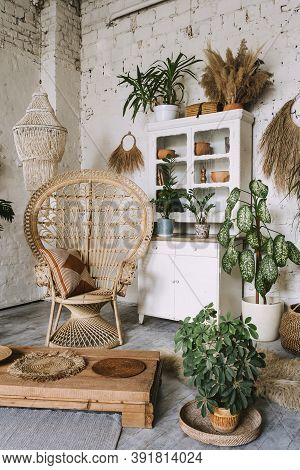 Vertical View Of Elegant And Quiet Living Room With Cozy Interior Design In Bohemian Style, Wicker A