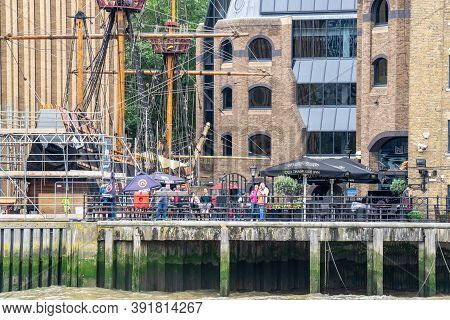 London, Uk, July 28, 2019.a Full Size Replica Of Sir Francis Drakes 16th Century Galleon
